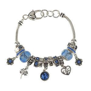 Jewelry - NEW Silver Tone December Birthstone Charm Bracelet